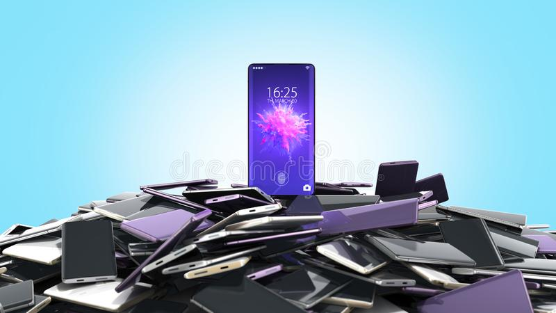 Concept of flagman model Modern full screen smart phones random color 3d render on blue gradient vector illustration
