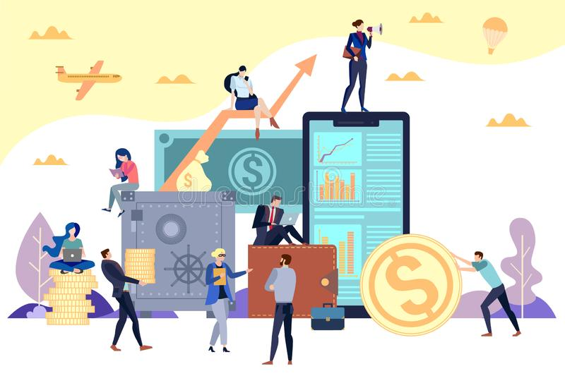 Concept flat illustration. Money, finances, banking and financial security vector illustration