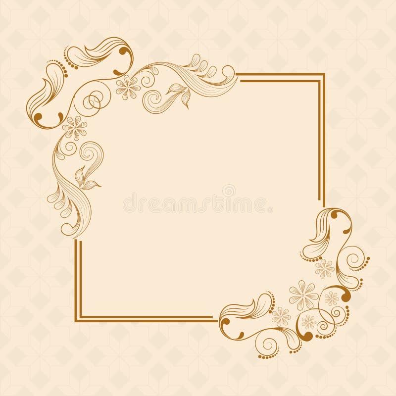 Concept of floral design decorated frame. stock illustration