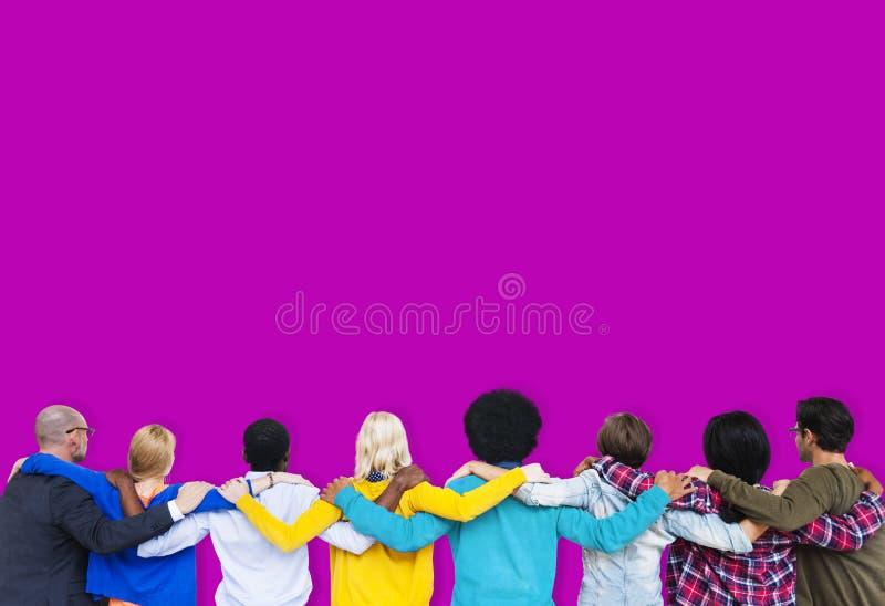 Concept fonctionnant d'amitié de travail d'équipe de grandes données de personnes de diversité image stock