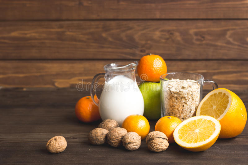 Concept food allergies on wooden background. Close up stock photography
