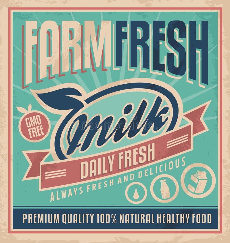 Concept frais de lait de rétro de ferme de lait ferme fraîche de concept rétro illustration stock