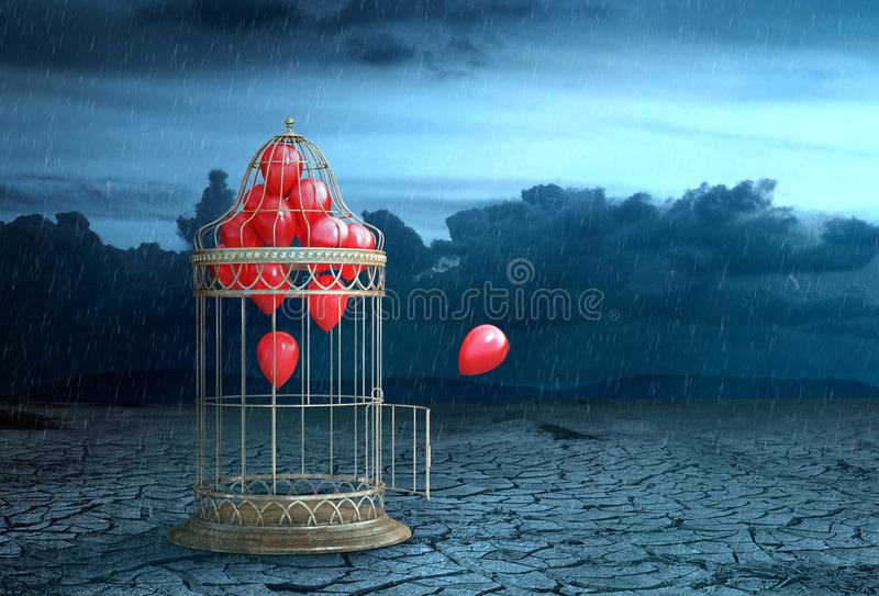 Concept of freedom. Air ball fly out of the cage royalty free stock image