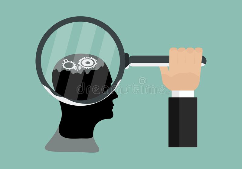 Concept of the functioning of human body and the brain gears of cogs with vector design illustration stock illustration