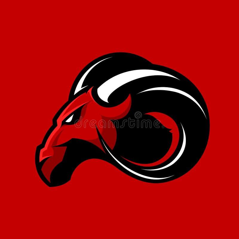Concept furieux de logo de vecteur de club de sport de RAM d'isolement sur le fond rouge illustration libre de droits