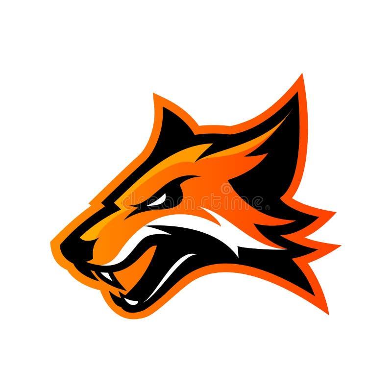 Concept furieux de logo de vecteur de club de sport de renard d'isolement sur le fond blanc illustration de vecteur