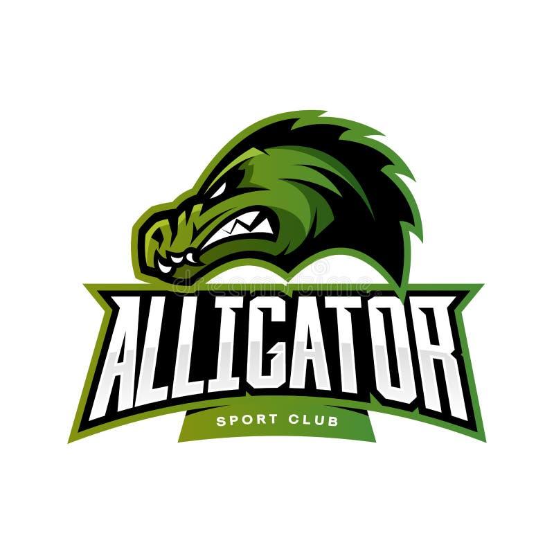Concept furieux de logo de vecteur de sport d'alligator d'isolement sur le fond blanc illustration stock