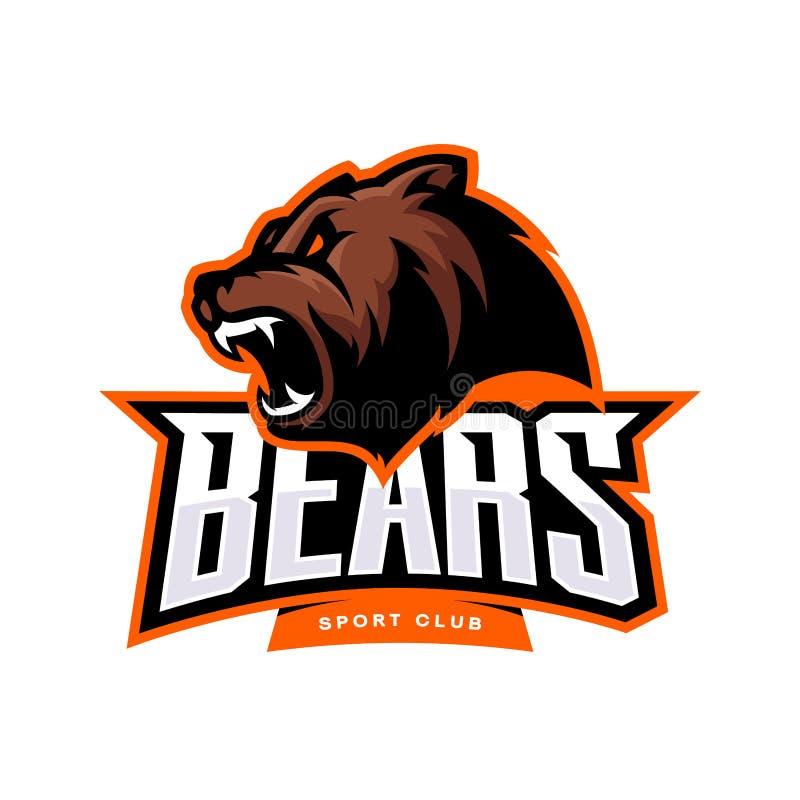 Concept furieux de logo de vecteur de sport d'ours d'isolement sur le fond blanc illustration libre de droits