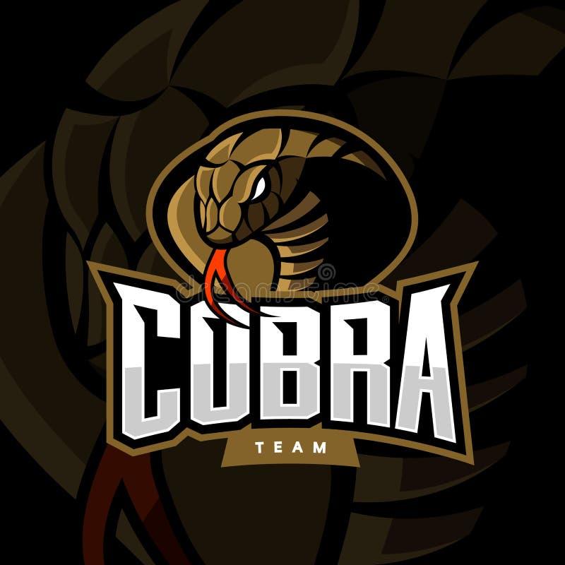 Concept furieux de logo de vecteur de sport de cobra sur le fond foncé illustration libre de droits