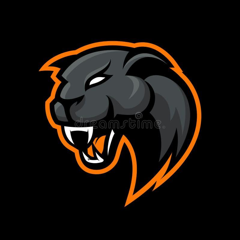 Concept furieux de logo de vecteur de sport de panthère sur le fond noir Conception professionnelle moderne d'insigne d'équipe de illustration libre de droits