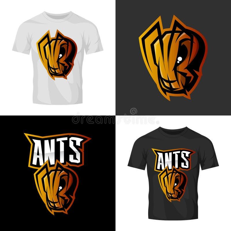 Concept furieux de logo de vecteur de sport de tête de fourmi d'isolement sur la moquerie de T-shirt  illustration stock
