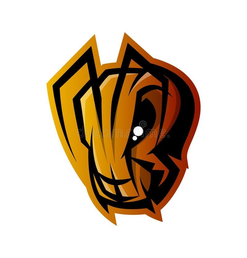 Concept furieux de logo de vecteur de sport de tête de fourmi d'isolement sur le fond blanc illustration stock