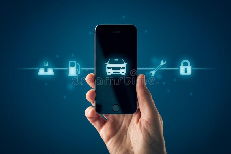 Concept futé d'appli de téléphone de voiture intelligente photographie stock libre de droits
