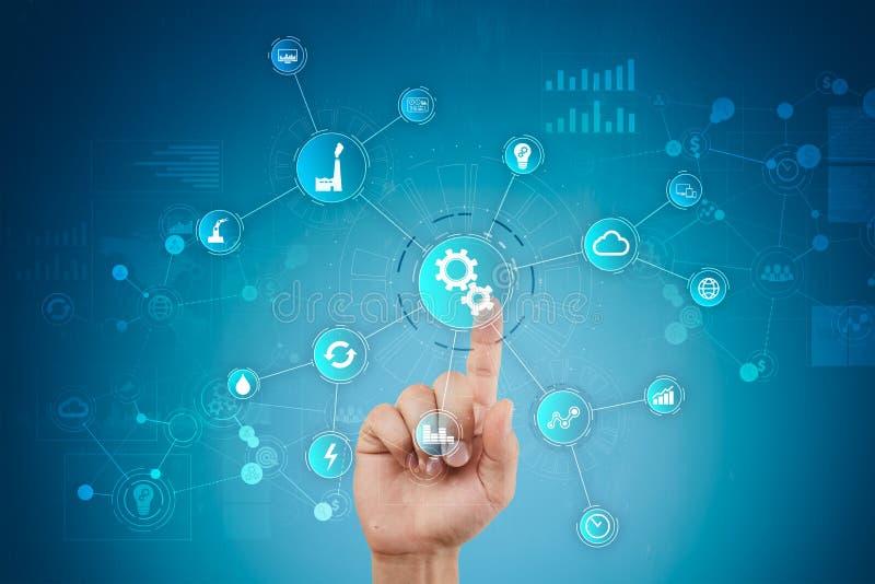Concept futé d'industrie et d'automation Internet des choses IOT, concept de technologie image libre de droits