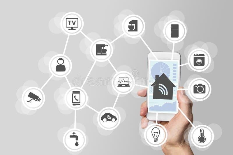 Concept futé de domotique illustré par le téléphone intelligent moderne pour surveiller les objets futés photo stock