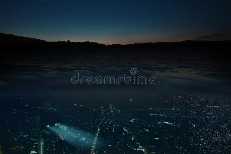 Concept of the future. Night city with lights under the water. Submarine. City of the future. Changing of the climate. Global flooding royalty free stock photography