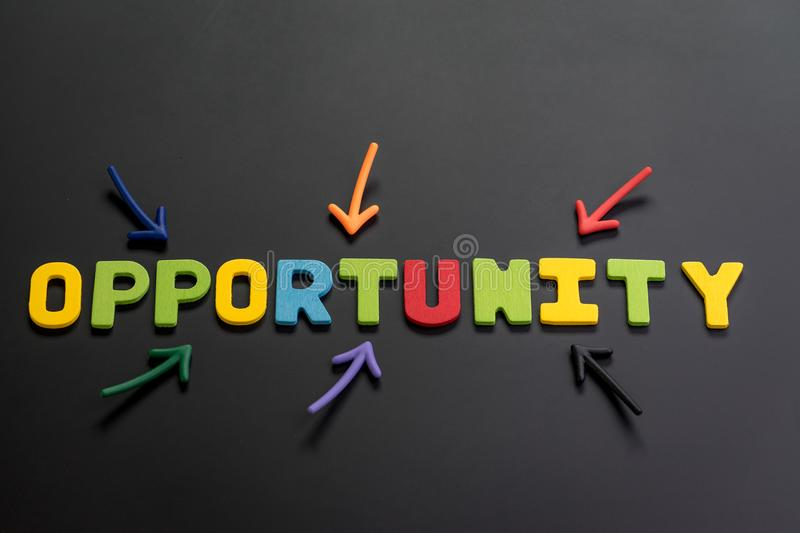 Concept of future opportunity in career path, job or work journey, colorful arrows pointing to the word OPPORTUNITY at the center royalty free stock image