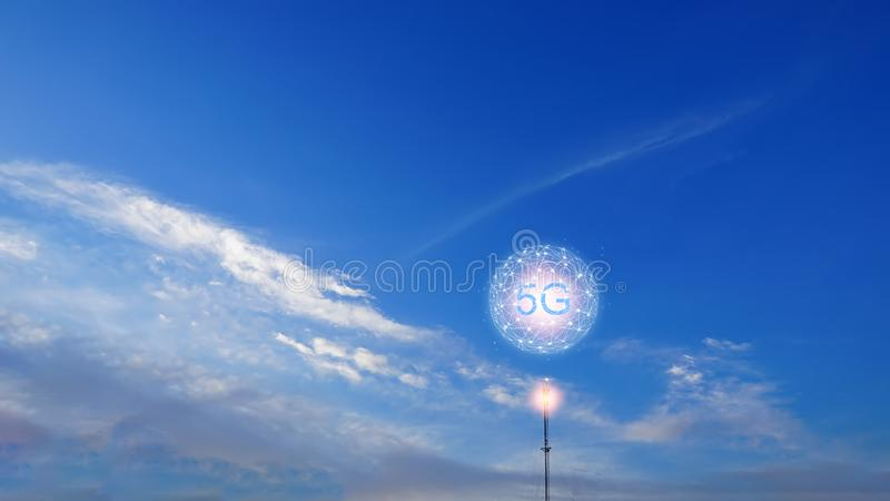 Concept of future technology 5G network wireless network that will control everything through electronic devices or have a short stock images