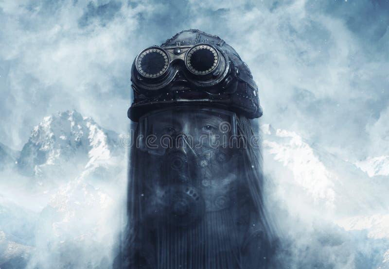 concept futuriste Courrier-apocalyptique Steampunk image stock