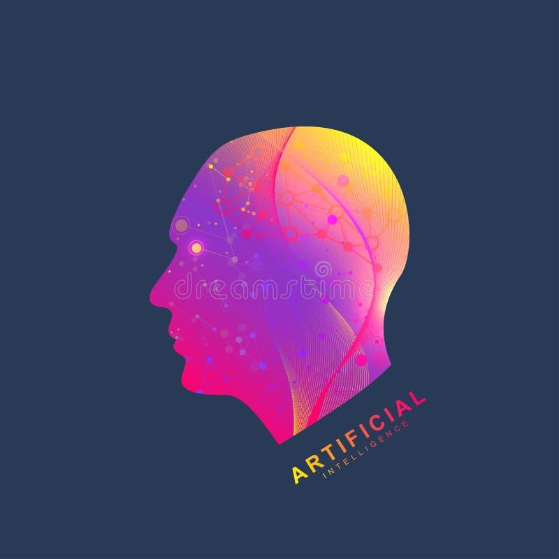 Concept futuriste d'intelligence artificielle et d'apprentissage automatique Grande visualisation humaine de données Communicatio illustration stock