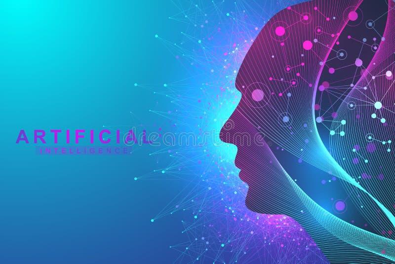 Concept futuriste d'intelligence artificielle et d'apprentissage automatique Grande visualisation humaine de données Communicatio illustration libre de droits
