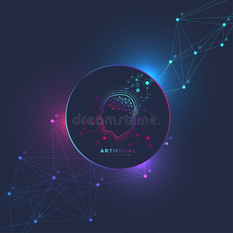 Concept futuriste d'intelligence artificielle et d'apprentissage automatique Grande visualisation humaine de données Communicatio illustration de vecteur