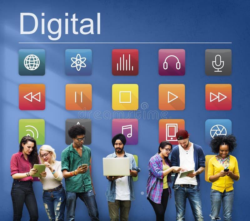 Concept futuriste du contenu numérique de connexion de multimédia photos libres de droits