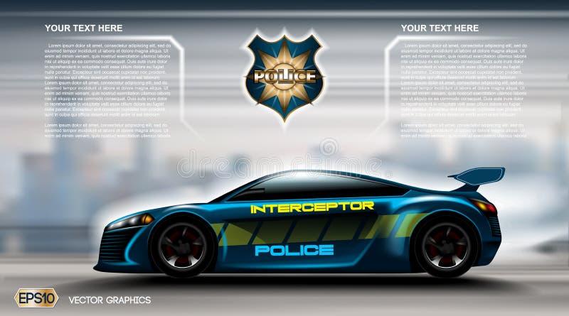 Concept futuriste réaliste Infographic de voiture de police Fond urbain de ville Cabine en ligne APP mobile, réservation de cabin illustration libre de droits