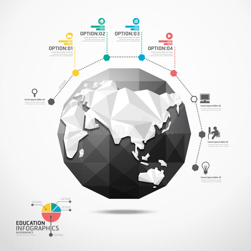 Concept géométrique d'infographics d'illustration de carte du monde de globe. illustration libre de droits