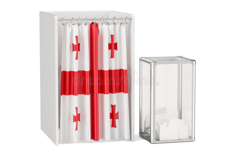 Concept géorgien d'élection, urne et cabines de vote avec le fla illustration libre de droits