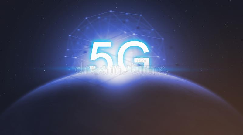 Concept 5G networking technology, wireless systems and internet of thing. Concept 5G networking technology, wireless systems and internet of thing in future and vector illustration