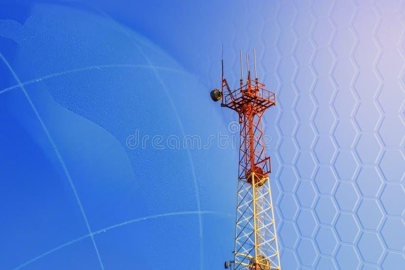 Concept 5G smart mobile telephone radio network antenna base station on the telecommunication mast radiating signal stock illustration