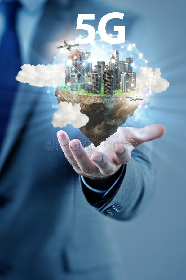 Concept of 5g technology with floating island stock image
