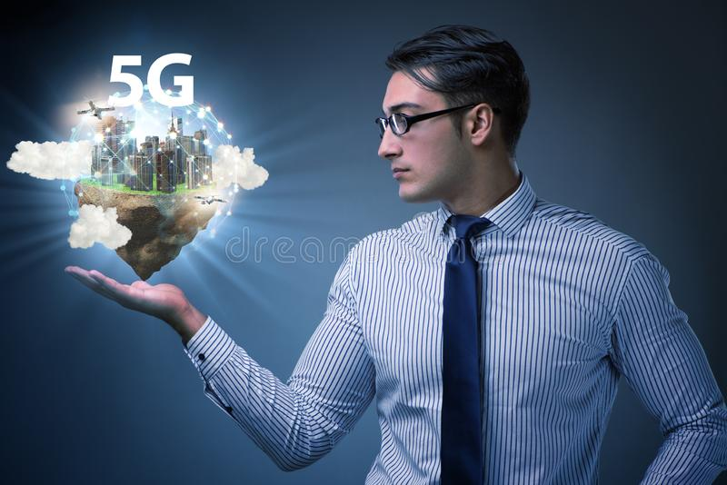 Concept of 5g technology with floating island. The concept of 5g technology with floating island stock photography