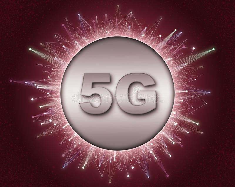 Concept of 5G technology network, high-speed mobile Internet, new generation networks. 3d rendering . vector illustration