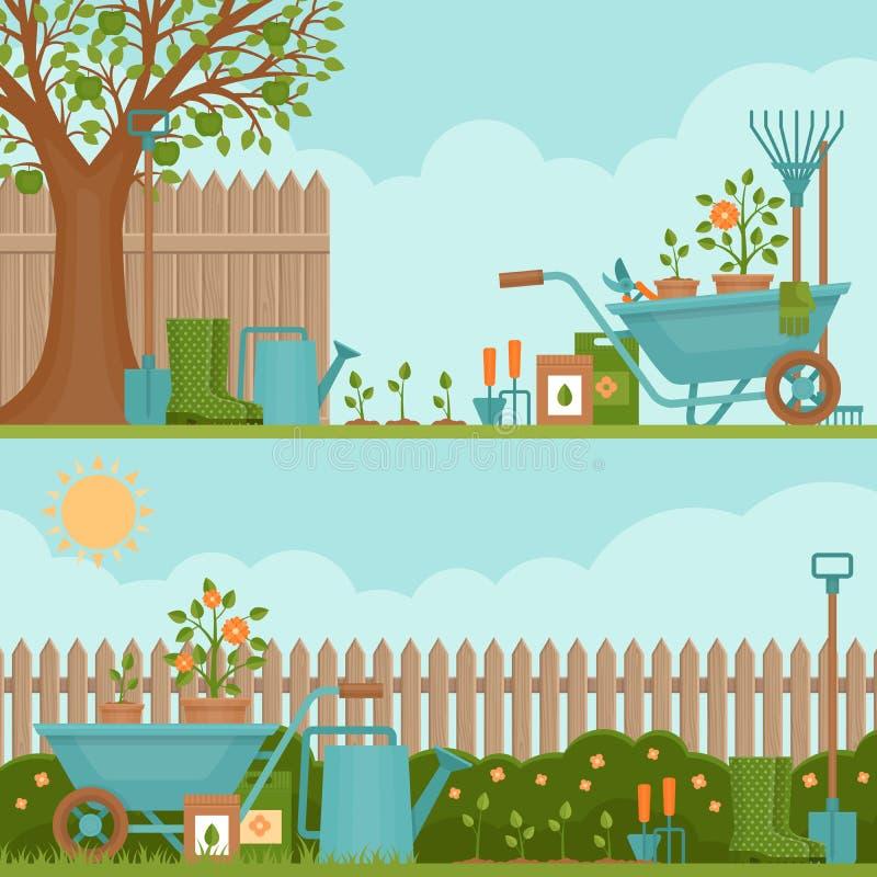 Concept of gardening. Garden tools. Banner with summer garden l vector illustration