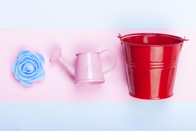 Concept gardening items. Blue decorative rose near to a red bucket and a pink watering can, picture on a colorful pastel background, concept gardening items royalty free stock photos