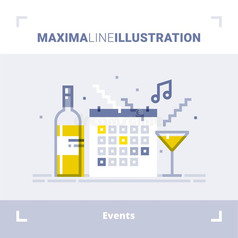 Concept gebeurtenissenbeheer, richtend de dienstagentschap, op de markt brengend agentschap, organisatie van viering en partij Ve vector illustratie
