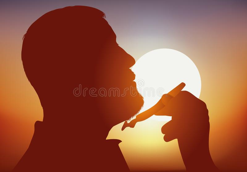 Profile against the day of a man who shaves against the sun royalty free stock photography