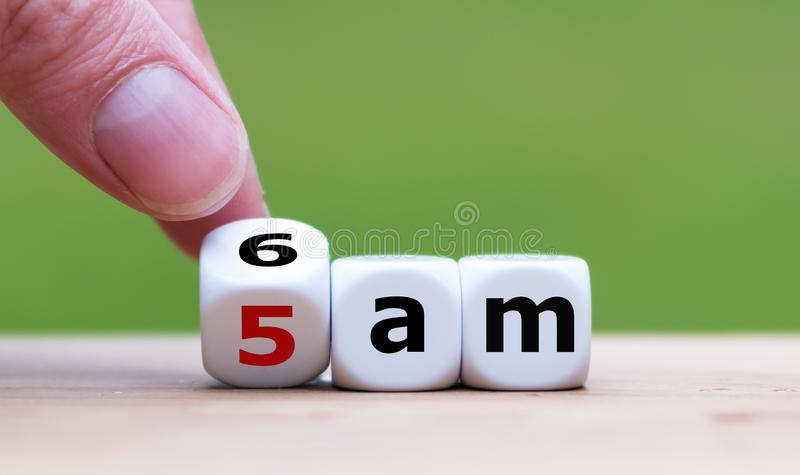 Concept for getting up early in the morning. stock images
