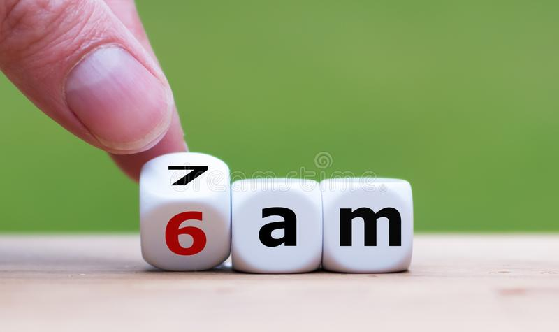 Concept for getting up early in the morning. royalty free stock photography