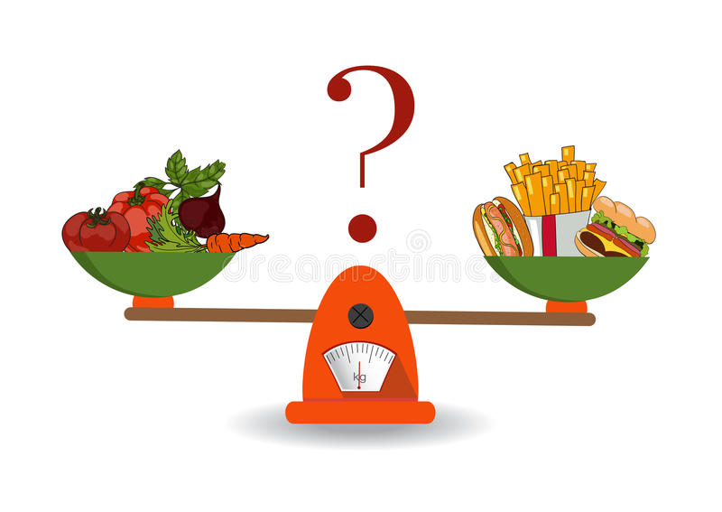 Concept gewichtsverlies, gezonde levensstijlen, dieet royalty-vrije illustratie