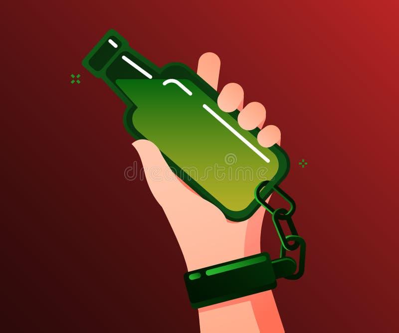 Concept gewijde alcohol Gewijd alcoholisch houdt en aan de fles geketend stock illustratie