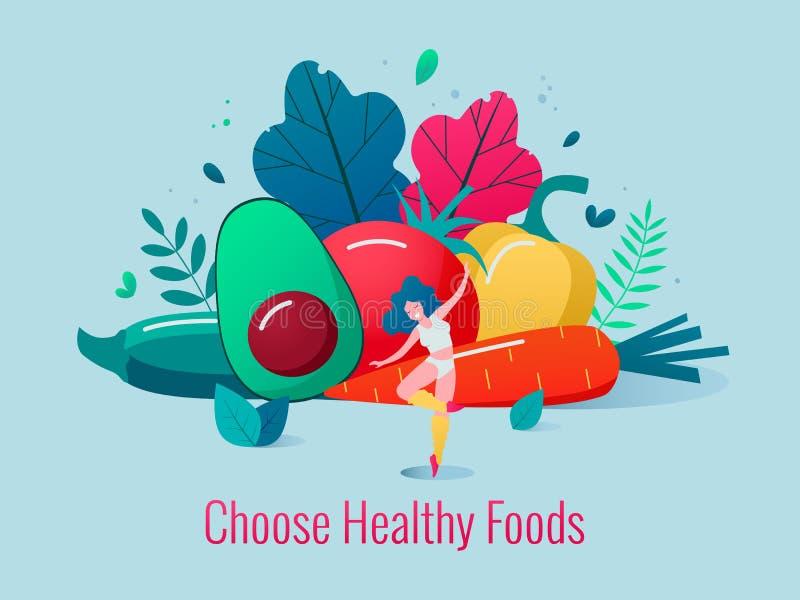 Concept gezonde voedsel vectorillustratie vector illustratie