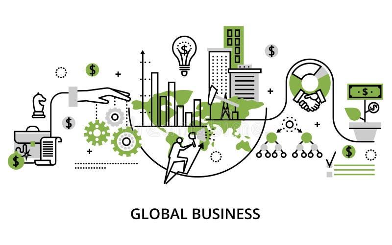 Concept globaal bedrijfsproces en financiënsucces in wo royalty-vrije illustratie