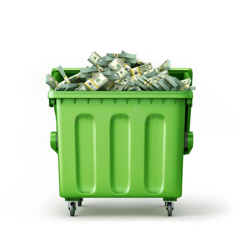 Concept globaal huisvuil recycling Contant geld in geïsoleerde afvalcontainer royalty-vrije stock foto's