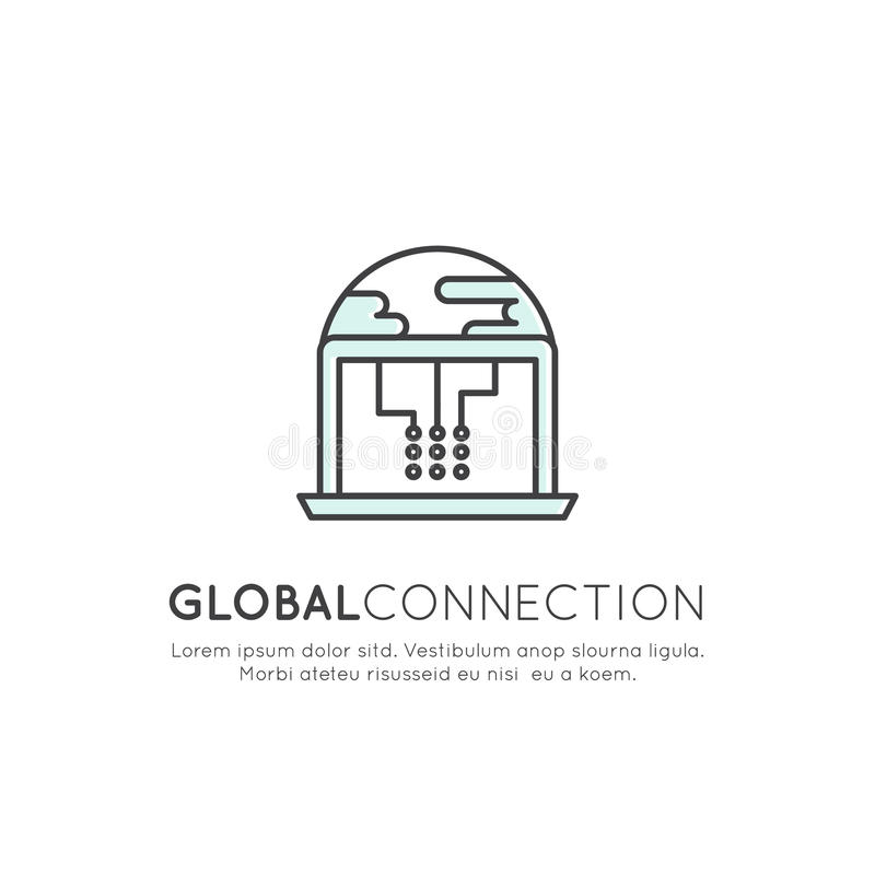 Concept of Global Connection, Network, Worldwide Web, Cloud Hosting, Wireless Connection vector illustration