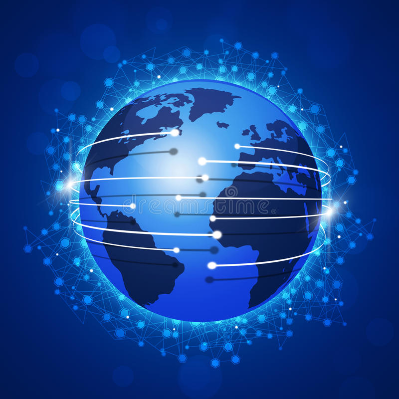 Download Concept Global Connections Blue Background Stock Illustration - Illustration of globe, service: 41214507