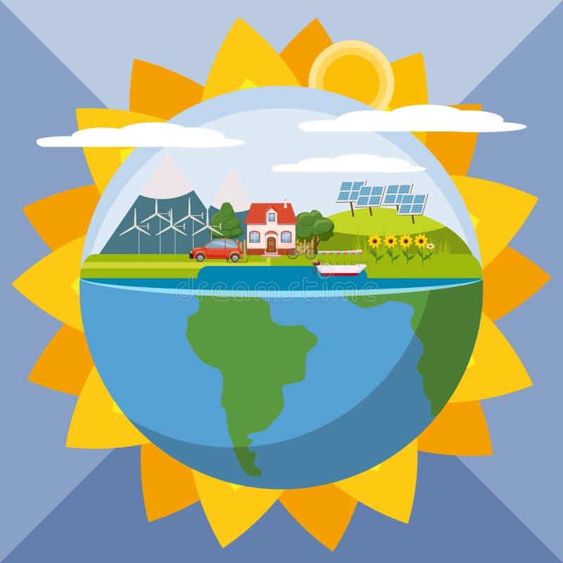 Concept global d'écologie de tournesol, style de bande dessinée illustration libre de droits
