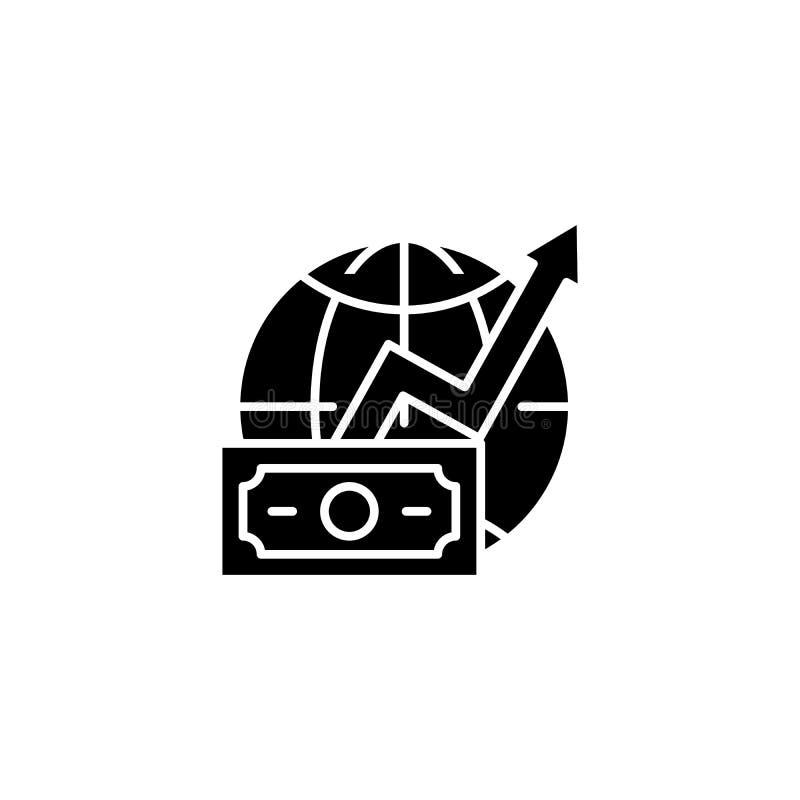 Concept global d'icône de noir de croissance de revenus Symbole plat de vecteur de croissance globale de revenus, signe, illustra illustration libre de droits